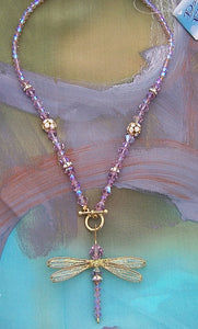 Dragonfly Beaded Necklace of Lavender Swarovski Crystals with Golden Toggle Closure