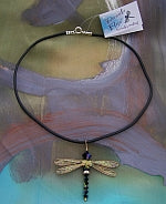 Dragonfly Pendant of Jet Black Swarovski Crystals with Gold Wings on Leather Cord