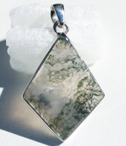 Green Moss Agate Pendant in pretty diamond shape.