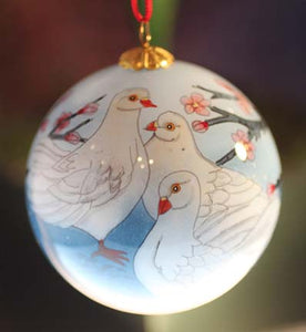 Dove Christmas Ornament painted in Reverse on Inside