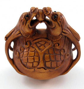Dragon Gong Netsuke Boxwood Dragon Bead