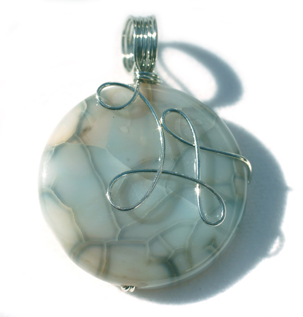 Dragon Veins Agate Pendant with sterling silver wire wrap.