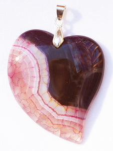 Dragon Veins Agate Pendant Lover's Heart Pendant