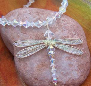 Dragonfly Pendant with Swarovski Iridescent Crystals