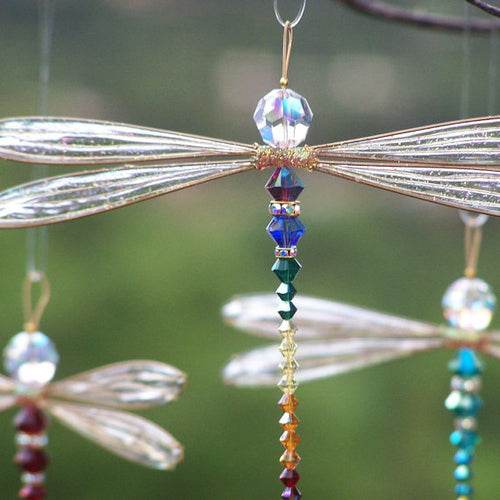 Dragonfly Suncatcher Mobile with Rainbow Theme Swarovski Crystals and Gold Wings Medium Size