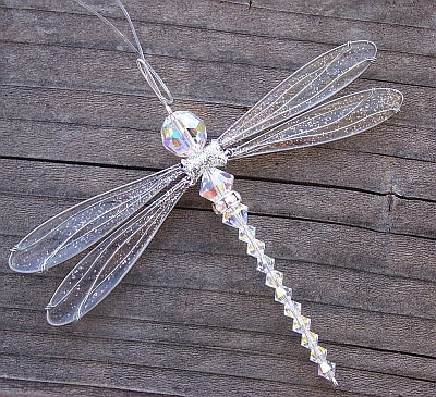 Dragonfly Mobile Purple Swarovski Crystal Suncatcher in Large Size