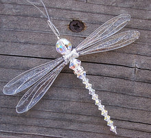 Load image into Gallery viewer, Dragonfly Mobile Iridescent Swarovski Crystal Suncatcher in Medium Size
