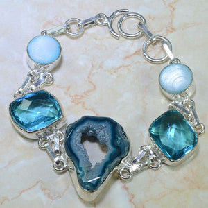 Blue Agate  Druzy, Blue Topaz and Mother of Pearl Silver LInk Bracelet