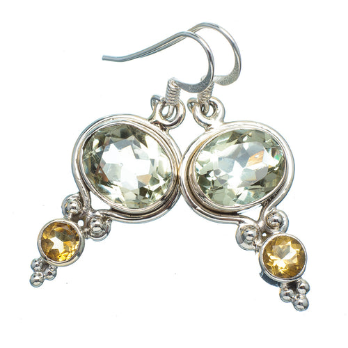 Prasiolite Earrings (Green Quartz) with Citrine