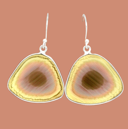 Royal Imperial Jasper Free Form Sterling Silver Earrings in Yellow and Umber Hues