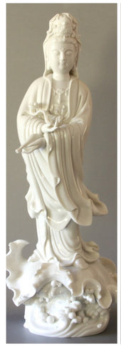 Kwan Yin statue standing with ceremonial scepter blanc de Chine figurine