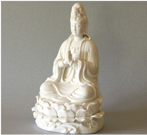 Kwan Yin Porcelain Figurine Quan Yin in Prayer on Lotus Leaves