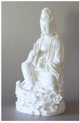 Kwan Yin Goddess of Compassion Statue Blanc de Chine Porcelain