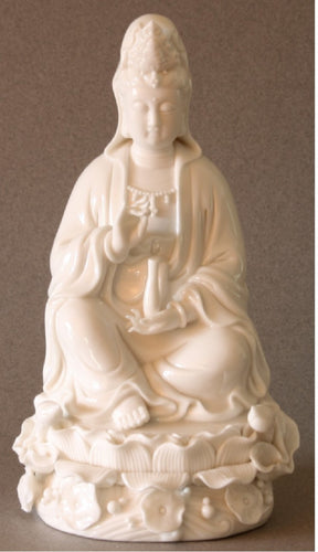 Kwan Yin Porcelain Statue Seated
