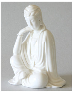 Kwan Yin Statue Seated Resting her Head Blanc de Chine Figurine