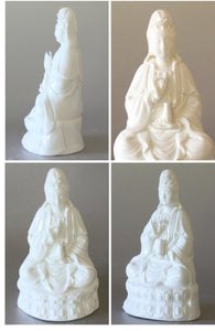 Kwan Yin Porcelain Statue Seated Holding a Crystal