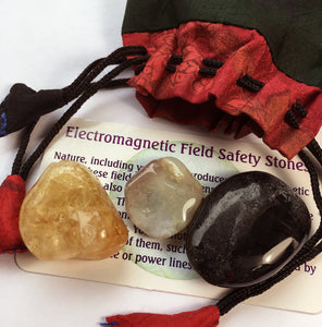 EMF Protection Crystals Bag of Black Tourmaline, Botswana Agate and Citrine
