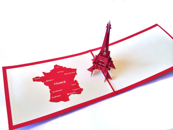 Eiffel Tower Pop Up Card 3-D Laser Cut