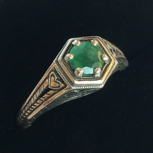 Emerald Ring in Sterling Silver Art Deco Hexagon Size 7.5 Ring