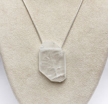 Load image into Gallery viewer, Faden Clear Quartz Necklace Crystal Tab on Sterling Silver Snake Chain