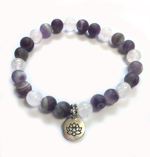 February Birthstone Amethyst and Rose Quartz Bracelet with sterling silver spacers and lotus charm