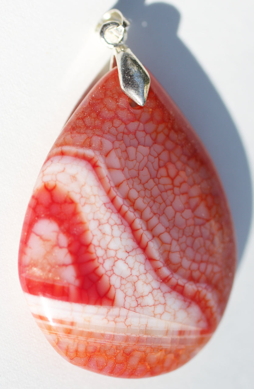 Dragon Veins Agate Pendant in a large pear shape