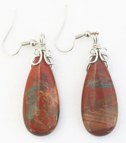 Flame Agate Tear Drop Shaped Earrings - for Good Judgment During Times of Risk and Adventure