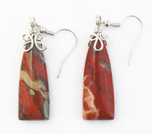 Flame Agate Earrings in Vase-Shape