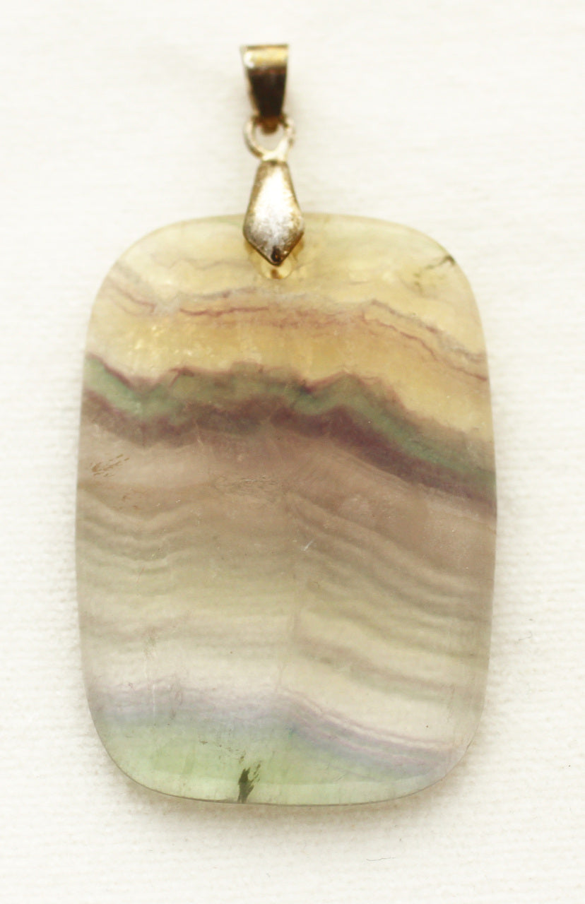 Rainbow Fluorite Oblong Pendant for a more dynamic personality