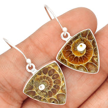 Load image into Gallery viewer, Ammonite Earrings Silver Sacred Geometry