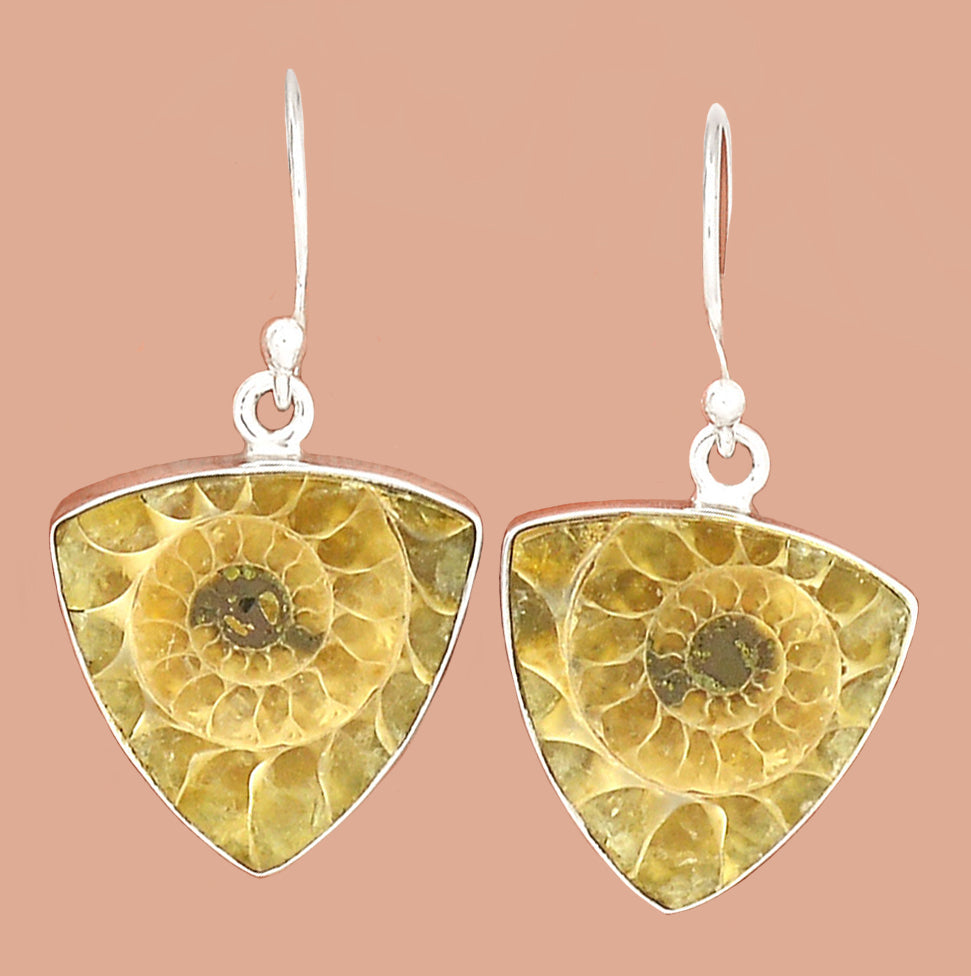 Ammonite Earrings Silver Sacred Geometry