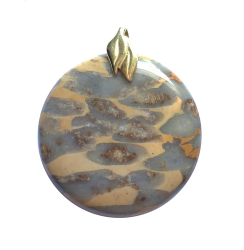 Fossilized Coral pendant with a gold plated brass double leaf bail