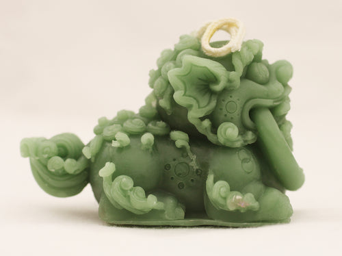 Ornate Foo Dog with Mouth Ring 1-7/8