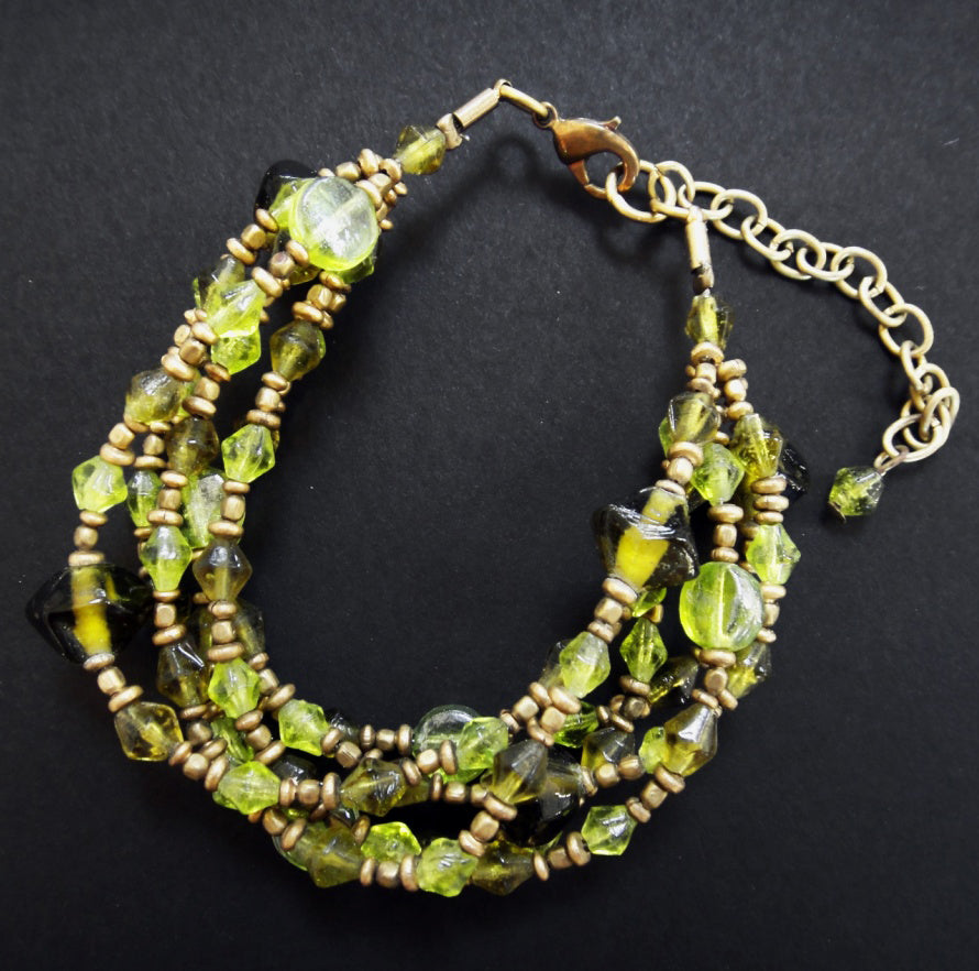 Gaia 6-Strand Green Glass Bead Bracelet - Green for the Element of Earth