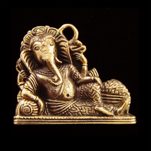 Load image into Gallery viewer, Lord Ganesh Reclining Copper Charm