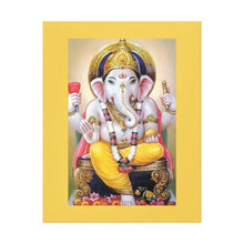 Load image into Gallery viewer, Lord Ganesh Illustration with Yellow Border 11 by 14 Canvas Print Giclee