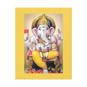 Lord Ganesh Illustration with Yellow Border 11 by 14 Canvas Print Giclee