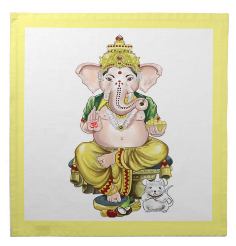 Lord Ganesh Cotton Tarot Cloth with Yellow Border
