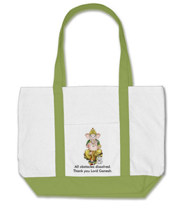Lord Ganesh Cotton Tote with Melon Green