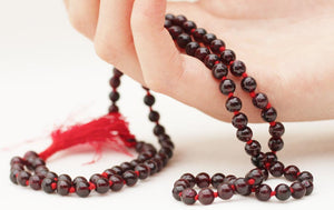 Garnet Knotted 108 Natural Hand Carved 4.5mm Bead Mala