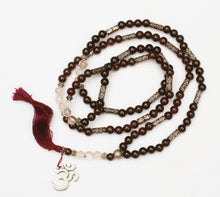 Load image into Gallery viewer, Spessartine Garnet and Rutilated Quartz Om Mala 6mm Prayer Beads