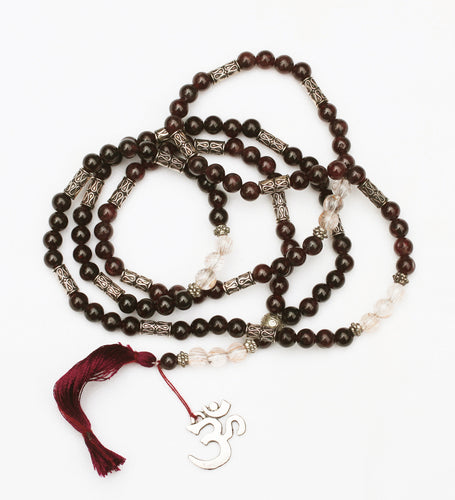 Spessartine Garnet and Rutilated Quartz Om Mala 6mm Prayer Beads