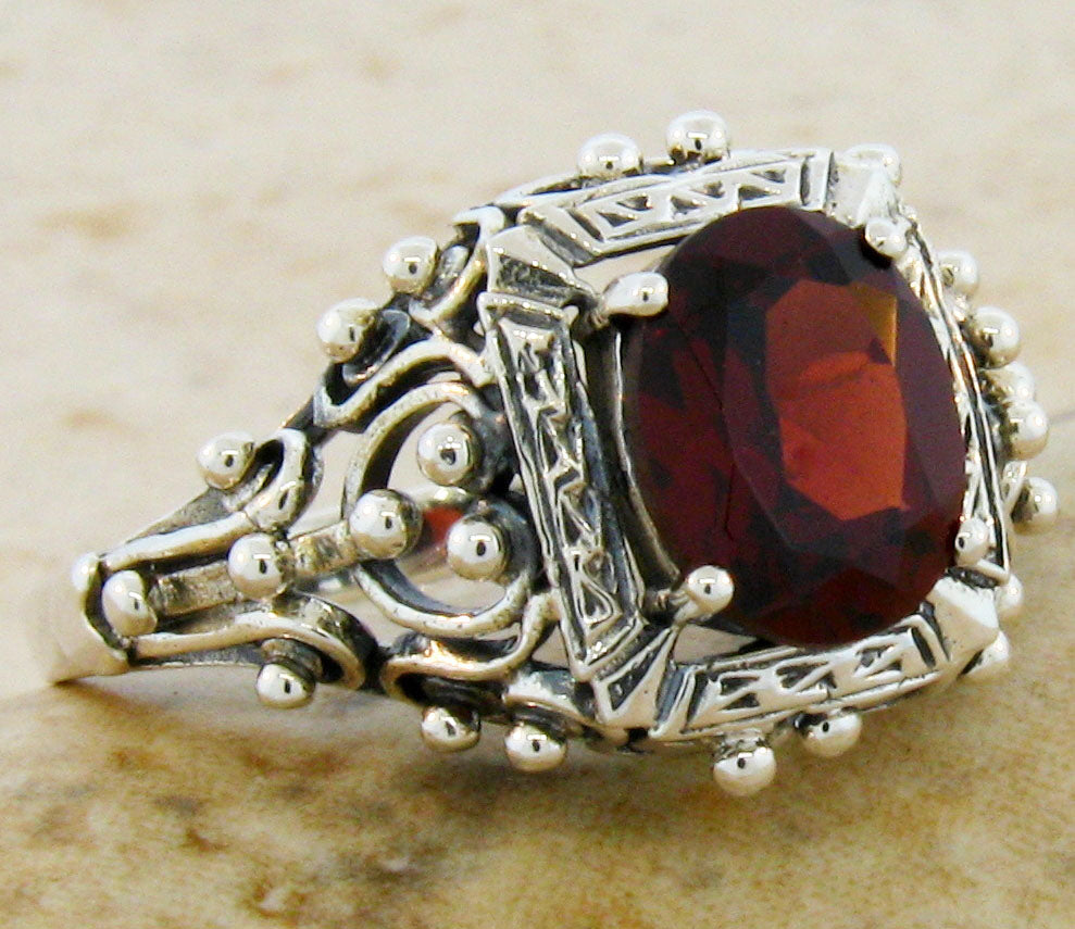 Garnet ring Victorian reproduction sterling silver ring size 6