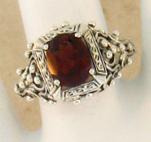 Load image into Gallery viewer, Garnet ring Victorian reproduction sterling silver ring size 6