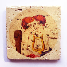 Load image into Gallery viewer, Gemini Vintage Ceramic Stone Coaster with cork bottom