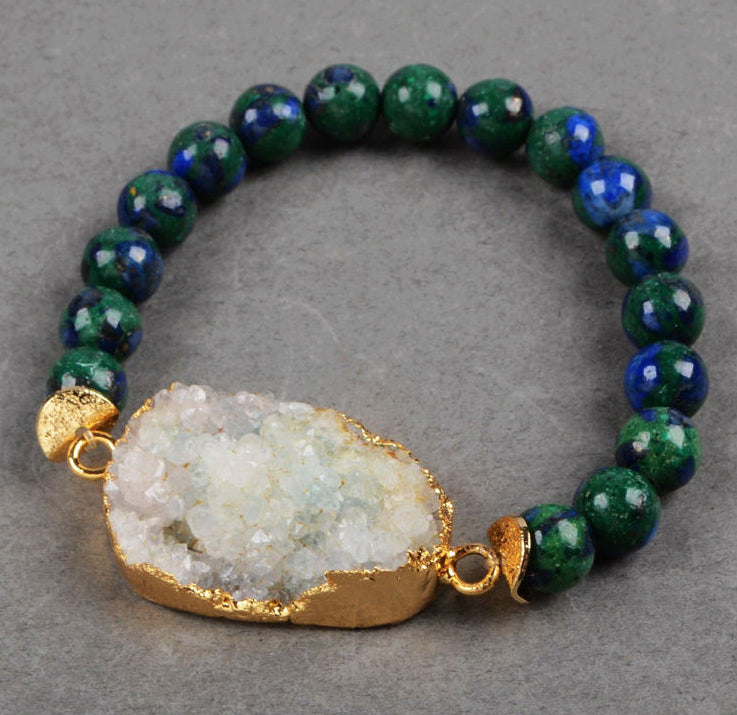 Crystal Druzy Focal Bead in Gold with Lapis Lazuli Malachite Bead Bracelet