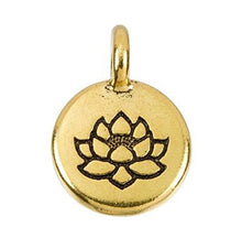 Load image into Gallery viewer, Lotus Pendant Necklace Gold Plated Pewter Round Charm
