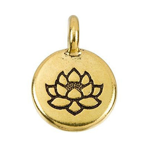 Lotus Pendant Necklace Gold Plated Pewter Round Charm