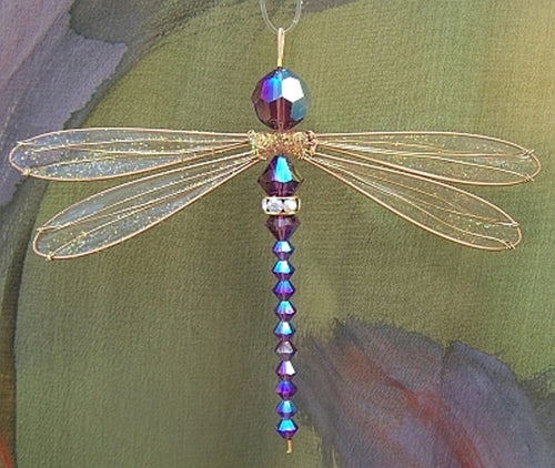Dragonfly Suncatcher Small Mobile with Iridescent Purple Swarovski Crystals