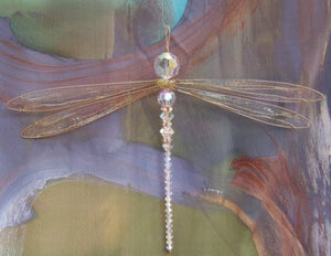 Dragonfly Suncatcher Small Mobile with Iridescent Swarovski Crystals and Gold Wings